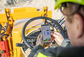 Hydrema Telematics application with fuel data