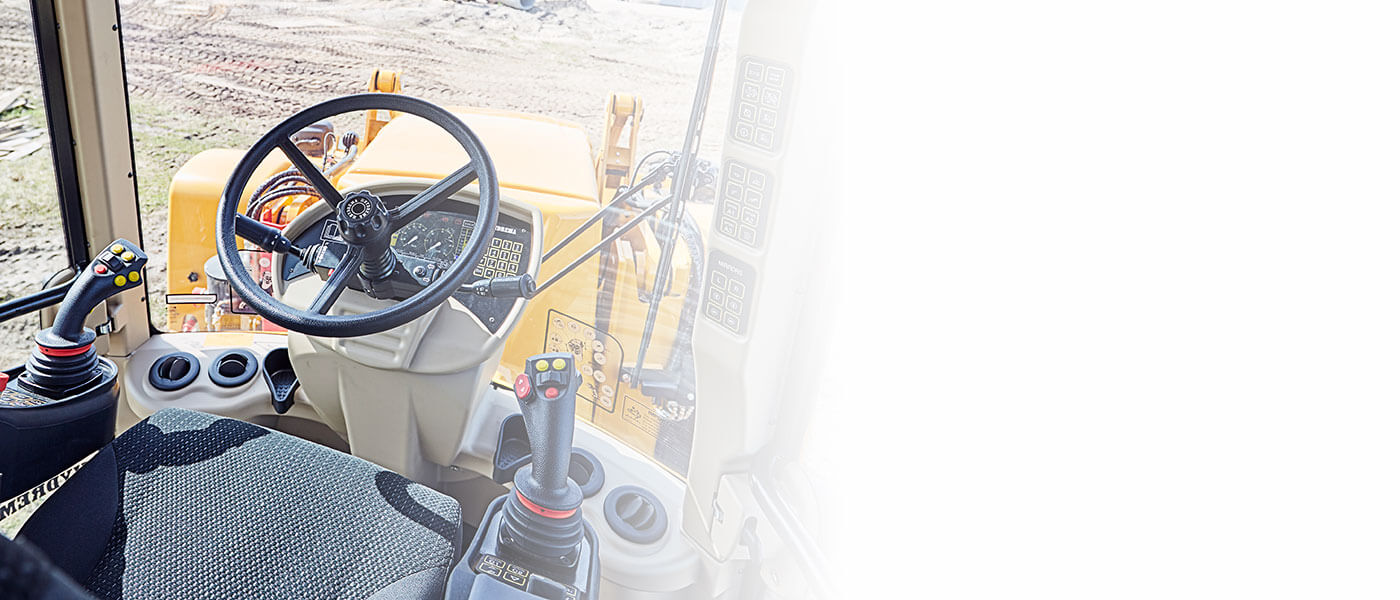 Hydrema 926F backhoe loader cabin view