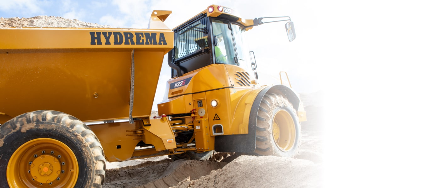 Hydrema 922G-Series dump truck driving through terrain