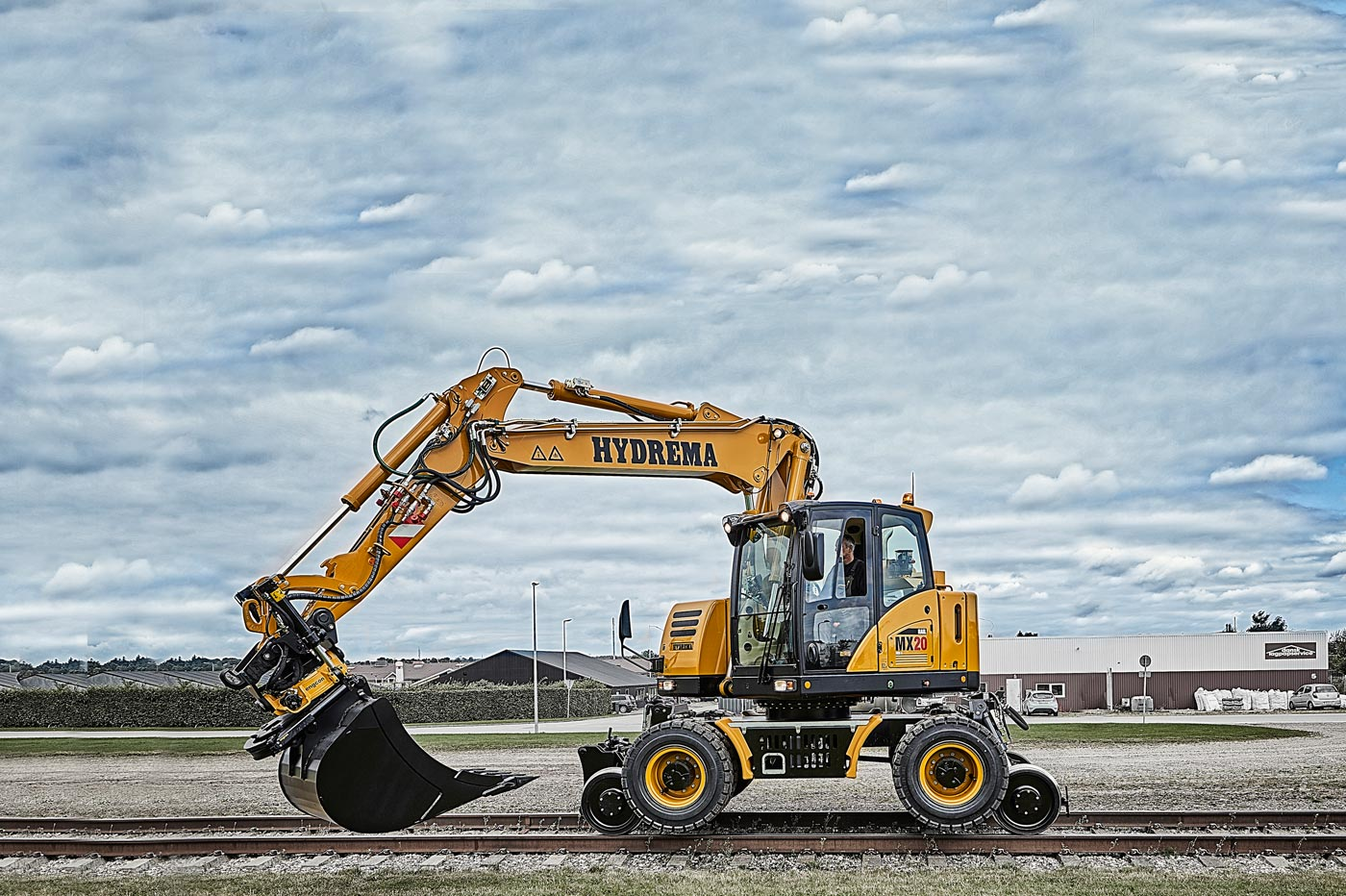 Hydrema MX20 rail excavator driving on the rail way